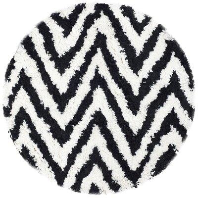 Davey Ivory / Black Shag Rug Rug Size: Round 4