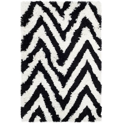 Davey Ivory / Black Shag Rug Rug Size: Rectangle 26 x 4