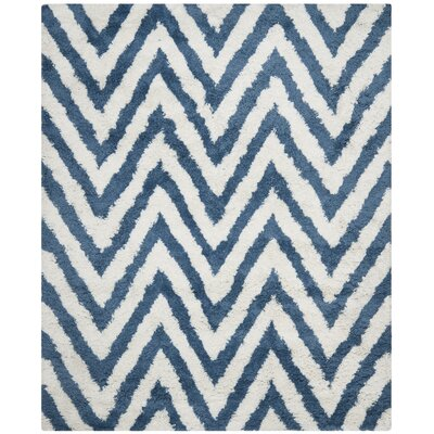 Davey Ivory/Blue Outdoor Area Rug Rug Size: Square 4