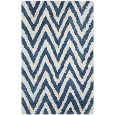 Davey Ivory/Blue Outdoor Area Rug Rug Size: Rectangle 5 x 8