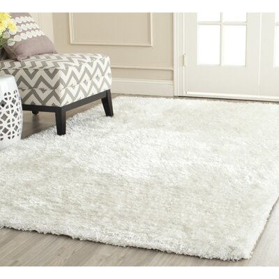 Maya Snow White Shag Rug Rug Size: Rectangle 23 x 4