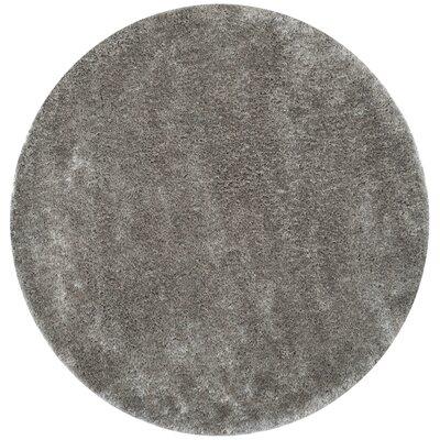 Maya Silver Shag Area Rug Rug Size: Round 6