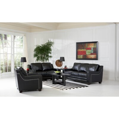 Newberry Nailhead Trim Leather Sofa and Loveseat Set in Black