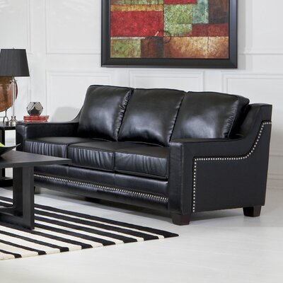 Newberry Nailhead Trim Leather Sofa in Black