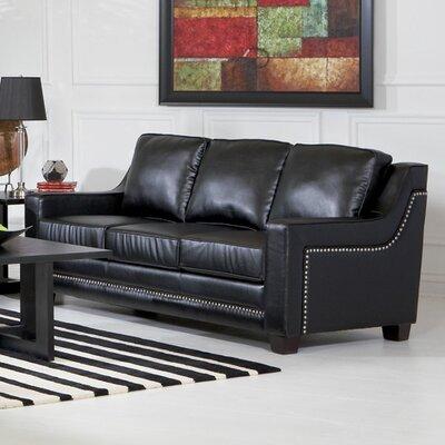 Newberry Nailhead Trim Leather Sofa in Black
