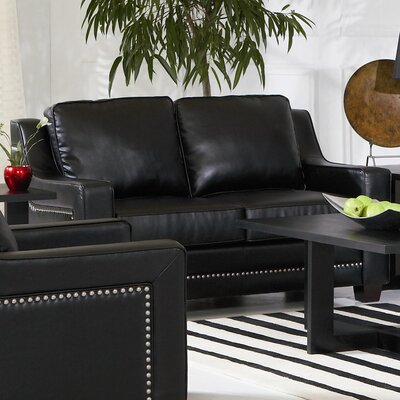 Newberry Nailhead Trim Leather Loveseat in Black