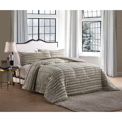 Sika Faux Fur Comforter Color: Gold, Size: Full / Queen
