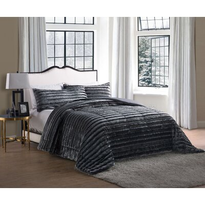 Sika Faux Fur Comforter Color: Gray, Size: Full / Queen
