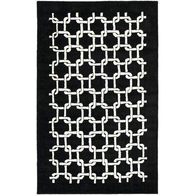 Bamba Black/White Geometric Area Rug Rug Size: Rectangle 36 x 56
