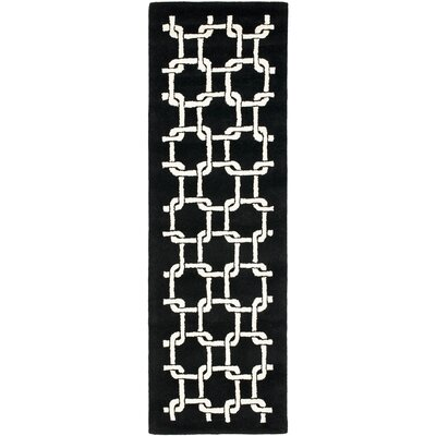 Bamba Black/White Geometric Area Rug Rug Size: Runner 26 x 8