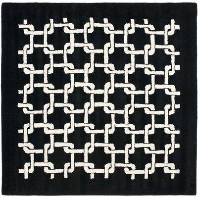 Bamba Black/White Geometric Area Rug Rug Size: Square 6