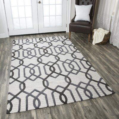Bursaite Hand-Tufted Gray Area Rug Rug Size: Rectangle 8 x 10