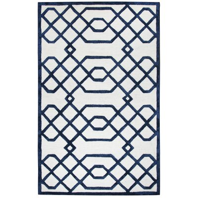 Davinia Hand-Tufted Off-White/Black Area Rug Size: Rectangle 9' x 12'