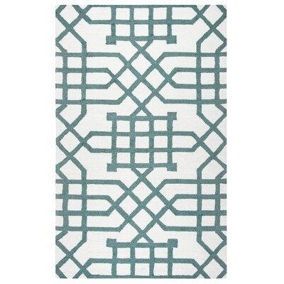Angela Hand-Tufted Off White/Teal Indoor/Outdoor Area Rug Size: 76 x 96