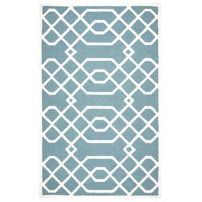 Davinia Hand-Tufted Teal/Off White Area Rug Size: 5 x 8
