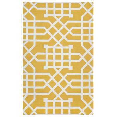 Angela Hand-Tufted Yellow/White Indoor/Outdoor Area Rug Size: Runner 26 x 8
