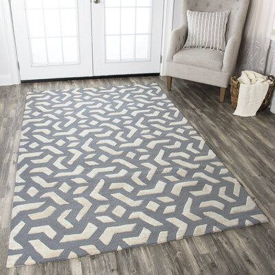 Bursaite Hand-Tufted Off White/Blue Area Rug Rug Size: 5 x 8