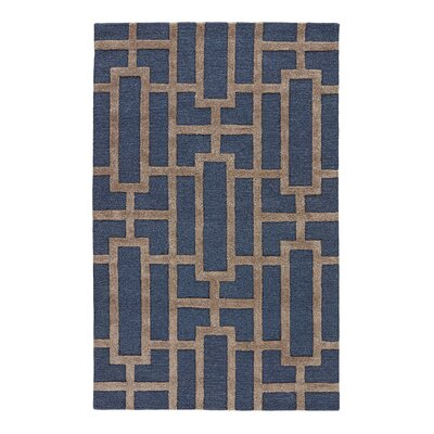 Avery Deep Navy / Beige Geometric Area Rug Rug Size: Rectangle 96 x 136