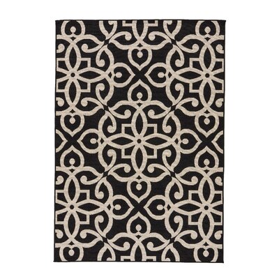 Charlena Black/Taupe Indoor/Outdoor Area Rug Rug Size: 53 x 76