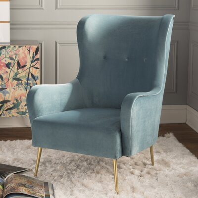 Tanzanite Velvet Wingback Chair Upholstery: Blue