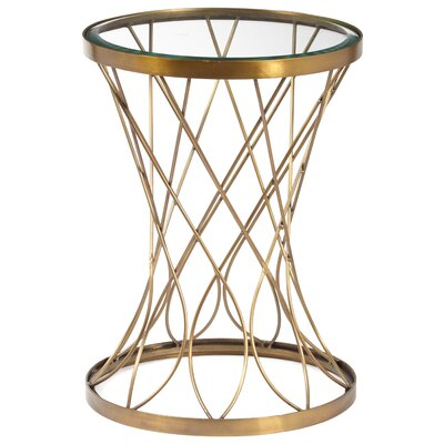 Osbourne Concave Round Metal End Table with Glass Top