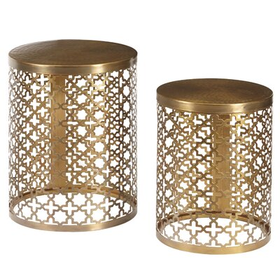 Beecher Round Perforated Metal 2 Piece End Table Set