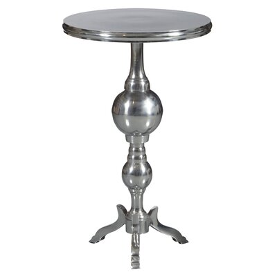 Belford Round Polished Aluminum Pedestal Tripod End Table