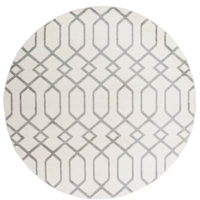 Siclen Ivory/Gray Area Rug Rug Size: Round 710