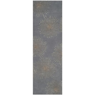 Beaufays Hand-Tufted Dark Gray/Silver Area Rug Rug Size: 26 x 8