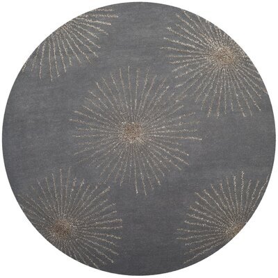 Beaufays Hand-Tufted Dark Gray/Silver Area Rug Rug Size: Round 6 x 6