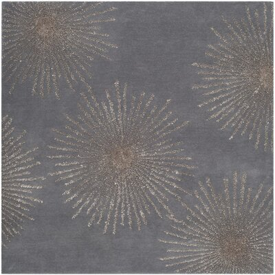 Beaufays Hand-Tufted Dark Gray/Silver Area Rug Rug Size: Square 6 x 6