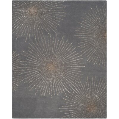 Beaufays Hand-Tufted Dark Gray/Silver Area Rug Rug Size: 76 x 96