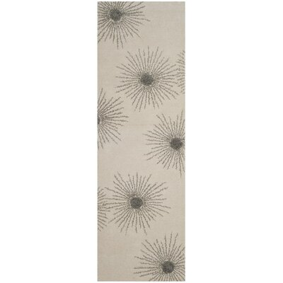 Beaufays Hand-Tufted Ivory/Silver Area Rug Rug Size: 2 x 3