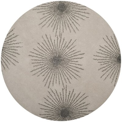 Beaufays Hand-Tufted Ivory/Silver Area Rug Rug Size: Round 6 x 6