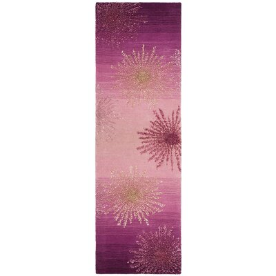Beaufays Hand-Tufted Pink Area Rug Rug Size: Rectangle 26 x 8