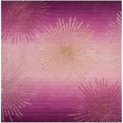 Beaufays Hand-Tufted Pink Area Rug Rug Size: Square 6 x 6