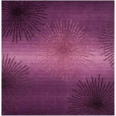 Beaufays Hand-Tufted Purple Area Rug Rug Size: Square 6 x 6