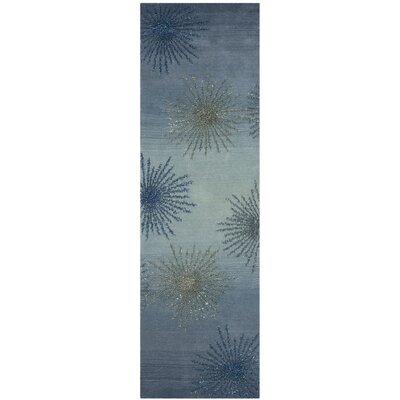 Germain Hand-Tufted Gray/Blue Area Rug Rug Size: Runner 26 x 8