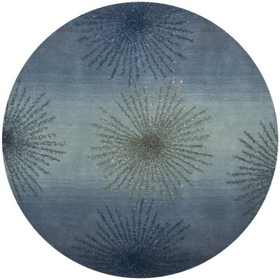 Germain Hand-Tufted Gray/Blue Area Rug Rug Size: Round 6