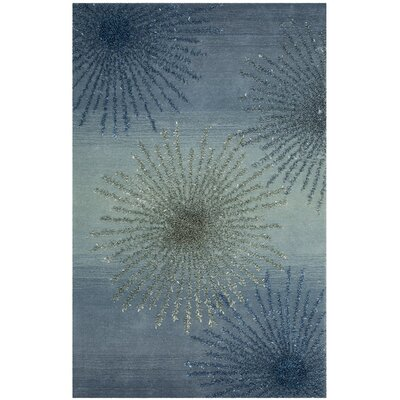 Germain Hand-Tufted Gray/Blue Area Rug Rug Size: 36 x 56