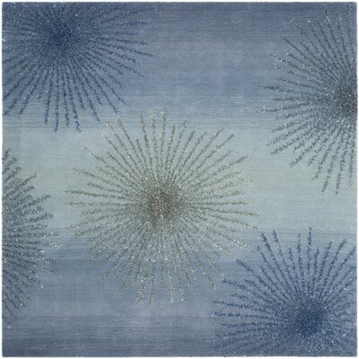 Germain Hand-Tufted Gray/Blue Area Rug Rug Size: Square 6
