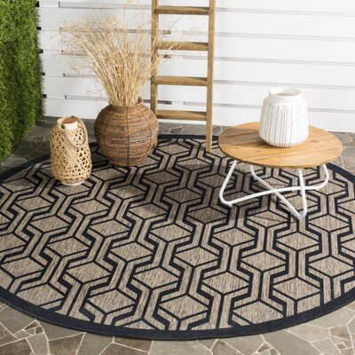 Olsene Brown/Black Indoor/Outdoor Area Rug Rug Size: Round 710