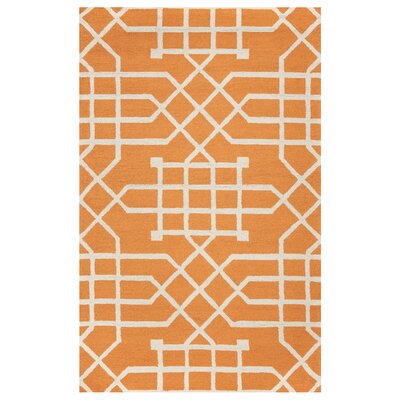 Angela Hand-Tufted Orange/Off White Indoor/Outdoor Area Rug Size: 5 x 76