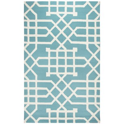 Angela Hand-Tufted Teal/Off White Indoor/Outdoor Area Rug Size: 36 x 56