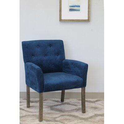 Westhoughton Arm Chair Upholstery: Blue Velvet, Finish: Driftwood