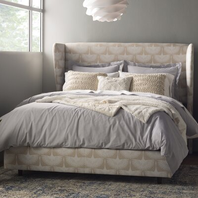 Poppy Wingback Linen Upholstered Panel Bed Size: Queen
