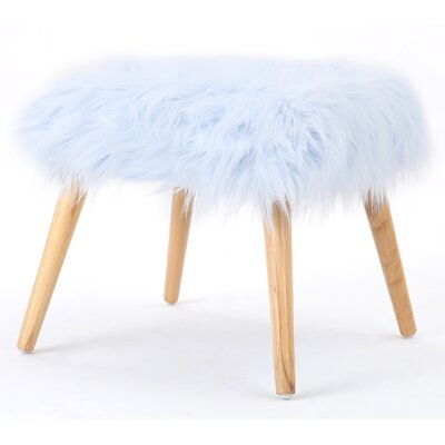 Belfield Faux Fur Ottoman Upholstery: Light Blue
