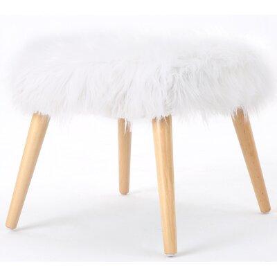 Belfield Faux Fur Ottoman Upholstery: White