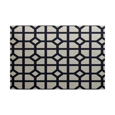 Fernwood Dont Fret Geometric Print Navy Blue Indoor/Outdoor Area Rug Rug Size: 4 x 6