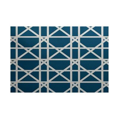 Glenaire Trellis Geometric Print Teal Indoor/Outdoor Area Rug Rug Size: 2 x 3